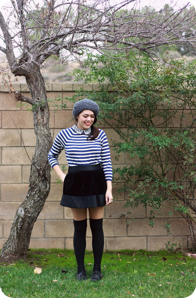 Sweets and Hearts style featuring thrifted J. Crew striped Liberty collar sweater, Erin Fetherston Target skirt, over-the-knee socks, Le Bunny Bleu oxfords