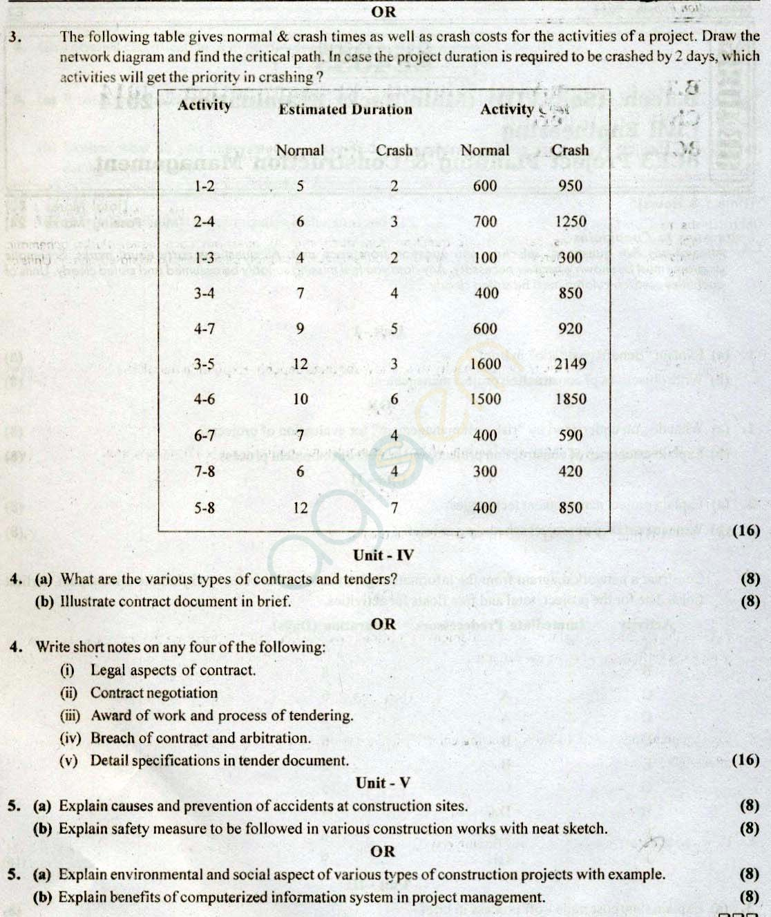 RTU: Question Papers 2014 - 8 Semester - CE - 8E4033