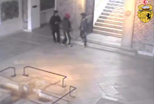 Footage from security camera of three suspected gunmen, credit: Ministry of Interior