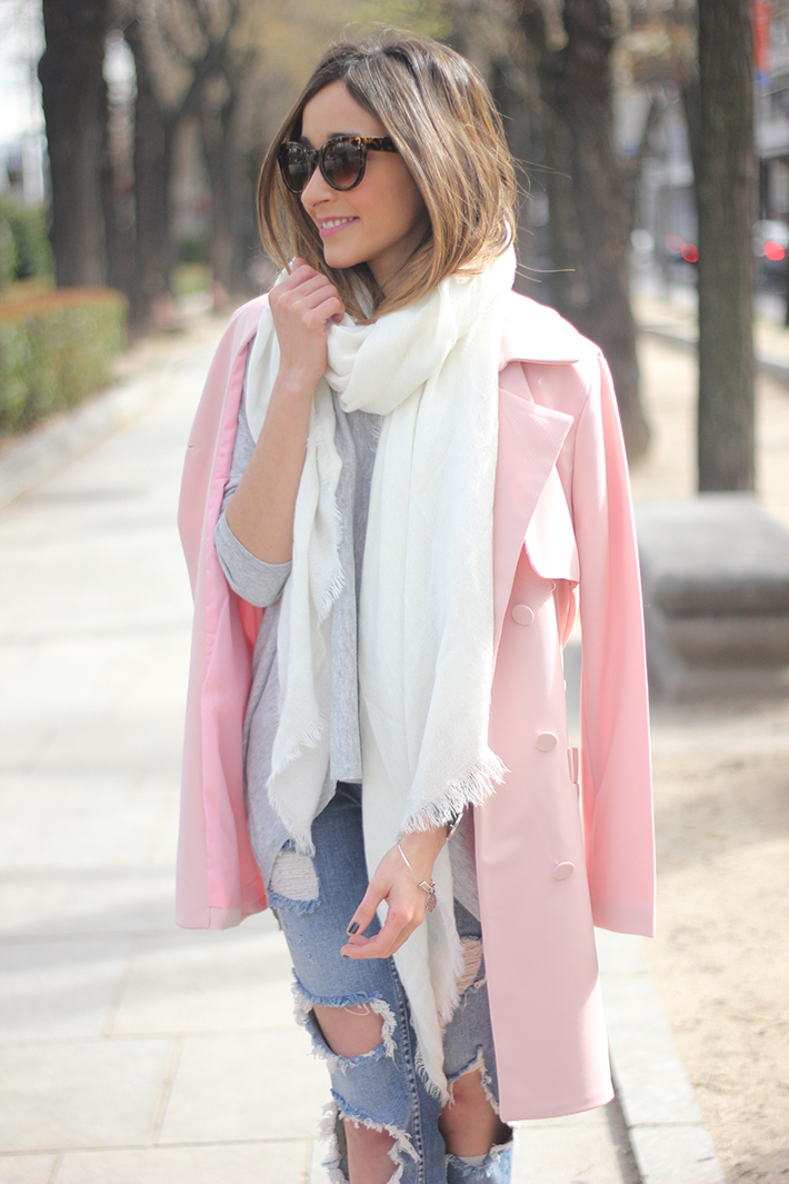 Pink trench & Ripped Jeans11
