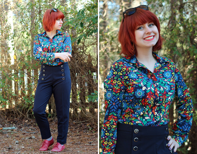 Retro Colorful Button Down Shirt, Navy Blue Sailor Pants, and Red Shoes