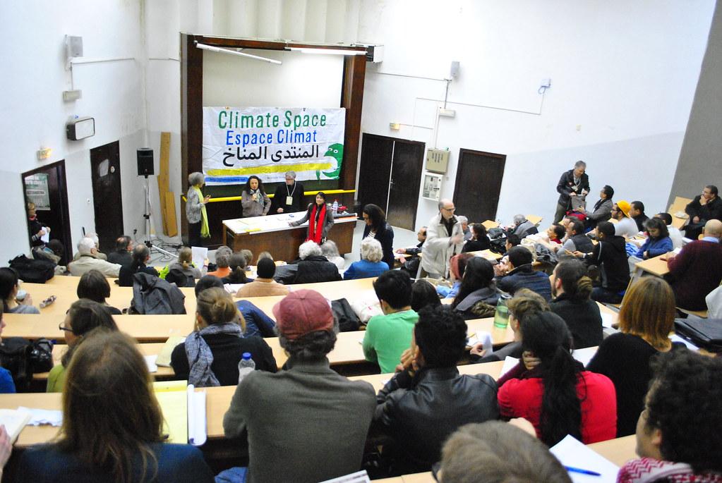 關於氣候變遷議題,也是本次大會十大議題分類之一。圖為28日上午的氣候變遷議題總結會議。(攝影:徐沛然)