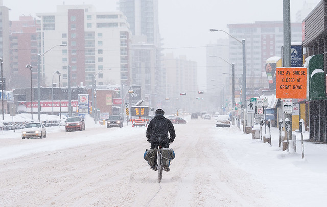 Cyclist, Jasper Avenue, March 22. 2015
