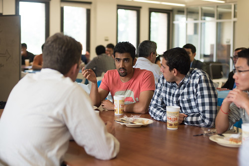 UT PGE students talk with Russell Parker, External Advisory Commission member, at the 2015 EAC Spring Barbecue, Friday, April 10. At the barbecue, EAC members had the opportunity to give students insight on the oil and gas industry, as well as learn more about the student perspective of PGE.