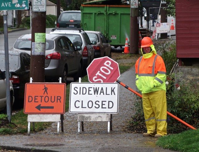 Detour, Sidewalk Closed, Stop!