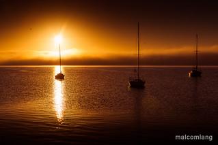Fog bank over Boston Bay Port Lincoln South Australia
