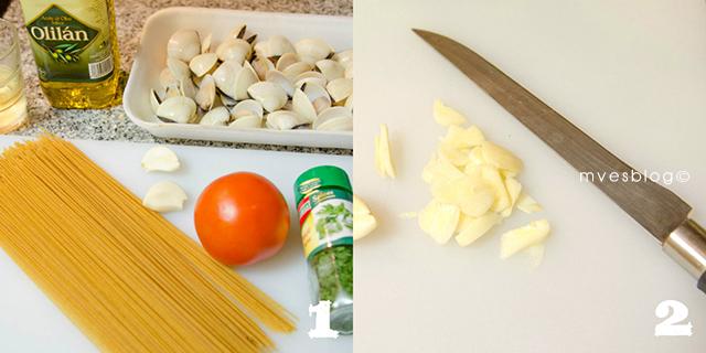 Recta paso a paso de Espaguetis integrales con almejas