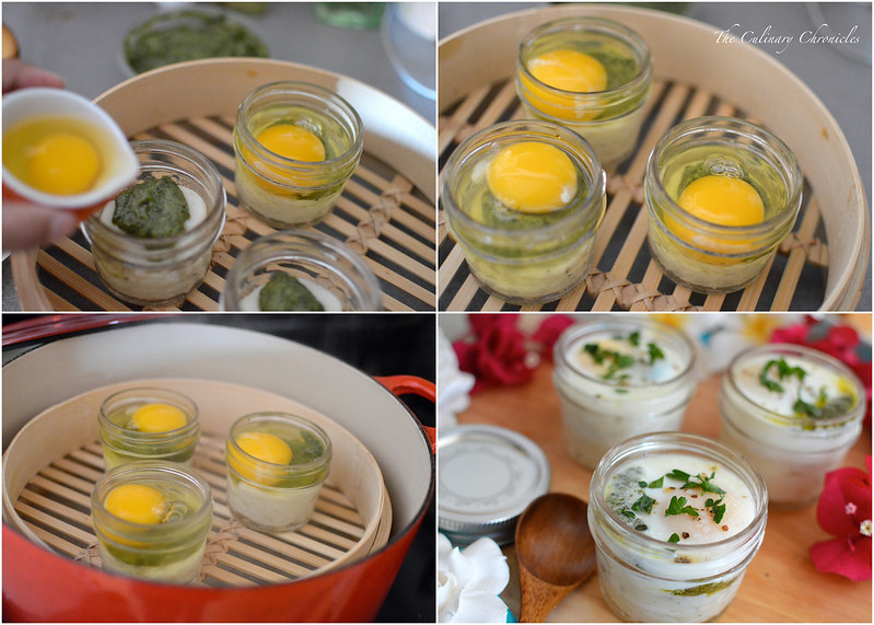Coddled Eggs with Pesto and Potato-Parsnip Puree
