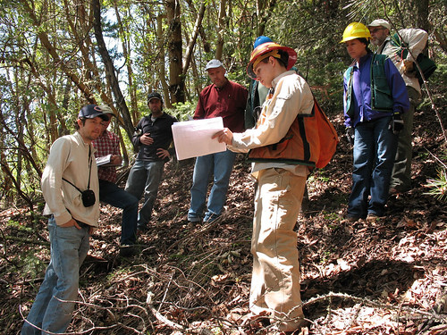 Group of stakeholders participating in a field trip within the Ashland municipal watershed