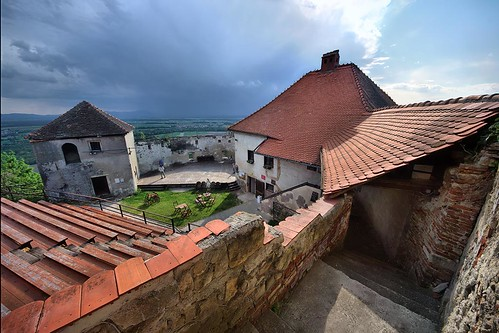 vurberk wurmberg podravje dravaplains slovenia castle fortress fortification history legend legendary old age medieval decay decrepit disrepair crumbling ruin building architecture stone walls red brick tower roof theatre theater stage amphitheatre amphitheater spectators benches hdr story