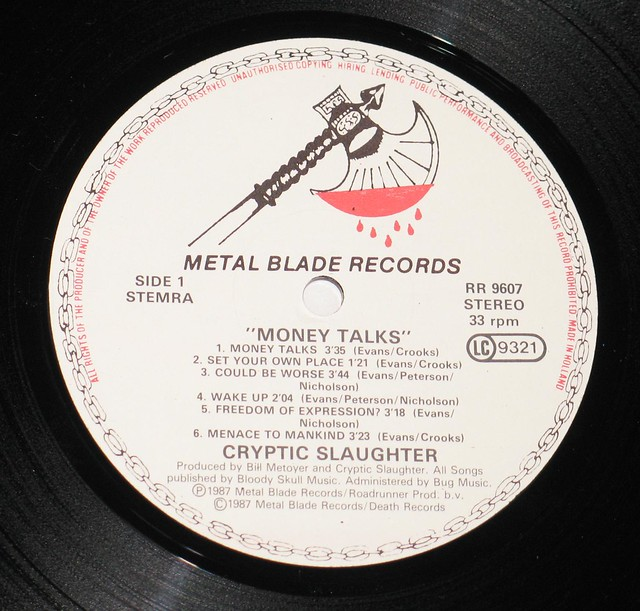 "CRYPTIC SLAUGHTER MONEY TALKS 12"" Vinyl LP"
