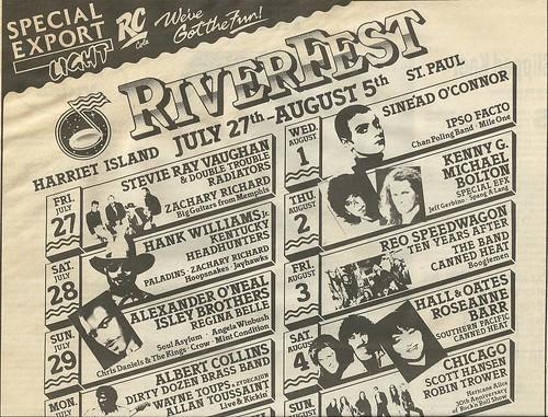 07/27/90 - 08/05/90 RiverFest 1990 @ Harriet Island, St. Paul, MN (Ad-Top)