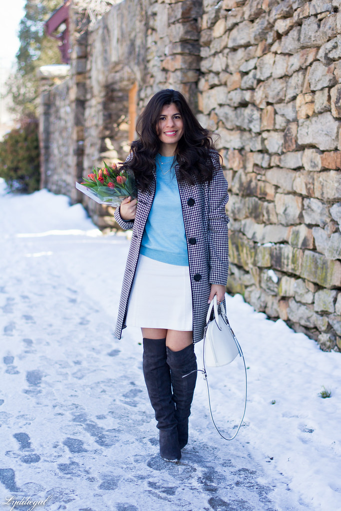 blue sweater, white mini skirt, OTK boots, houndstooth coat-1.jpg