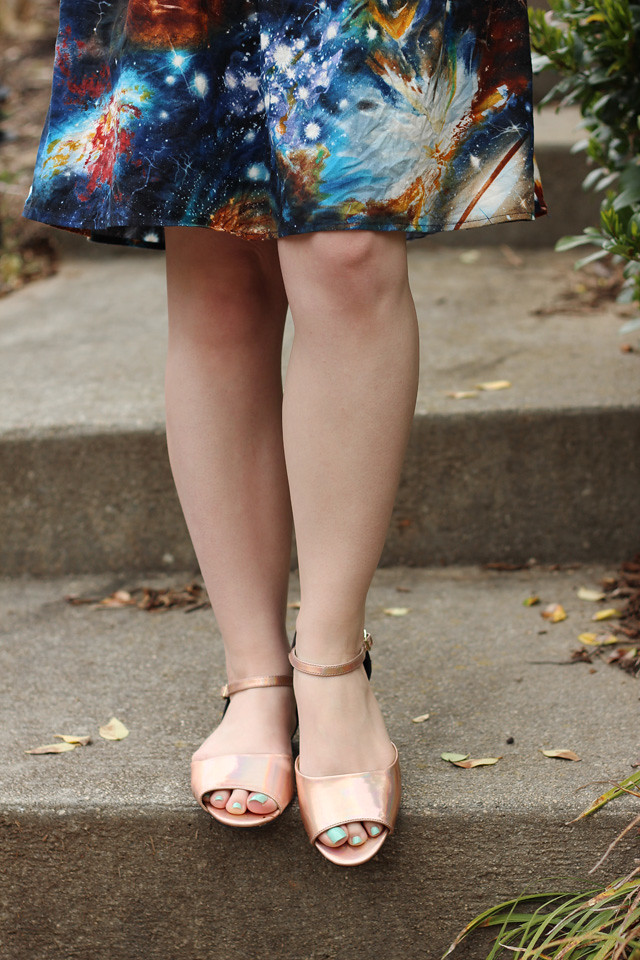 Holographic Peep Toe Flats with a Galaxy Print Dress