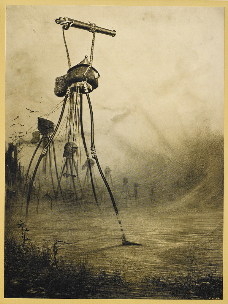 "HENRIQUE ALVIM CORRÊA - Martian Gas Cannon, from The War of the Worlds, Belgium edition, 1906 (illustration from Book I- The Coming of the Martians, Chapter XV- ""What Had Happened in Surrey,"") print version"