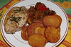 Pork loin steak with fried potatoes and Mediterranean vegetable stew