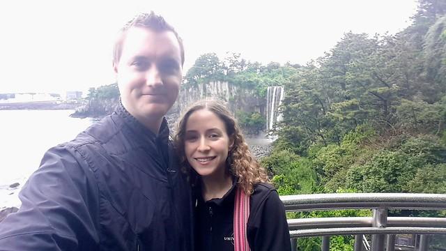 Selfie at Jeongbang Waterfall