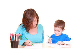 Teacher and child individual work