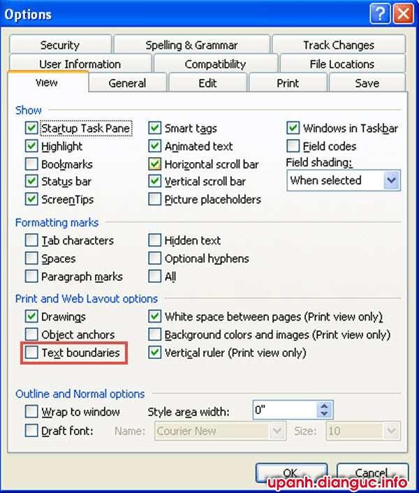 Bỏ chế độ đường viền bao quanh văn bản Text boundaries trong word 2003, 2007, 2010