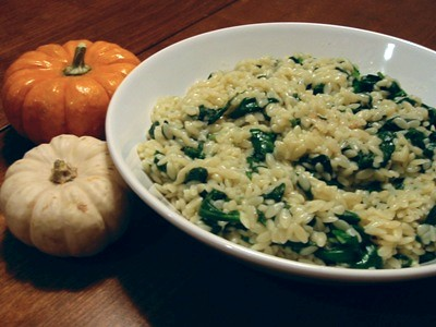 Spinach and Orzo with Gruyére