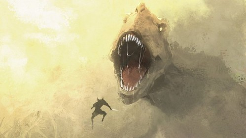 Wolverine vs T-rex. Andrew Hou.