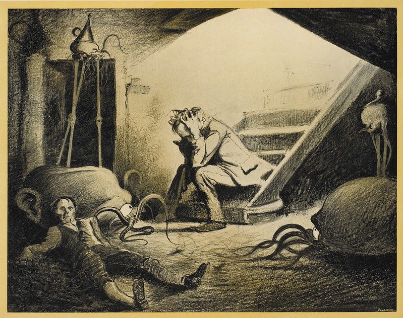 "HENRIQUE ALVIM CORRÊA - Death of Curate, from The War of the Worlds, Belgium edition, 1906 (illustration is featured in Book I- The Coming of the Martians, Chapter X- ""In the Storm,"") print version"