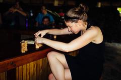 Sara enjoying some puzzles at the Black Rock Lodge - San Ignacio, Belize