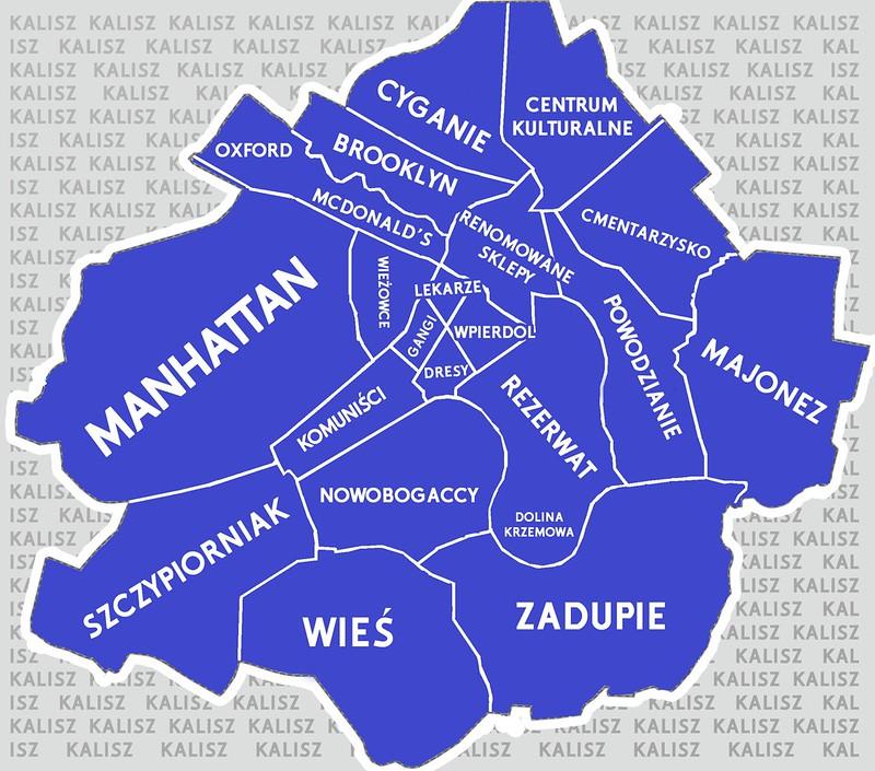Mapa dzielnic Kalisza