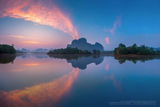 Sunrise Lake Reflecion : Sounth of Thailand