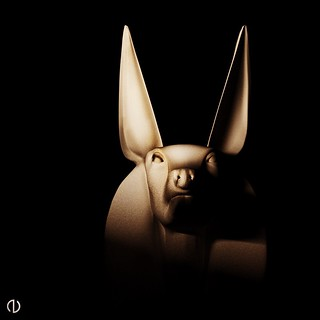 Anubis, ancient god of soggy tennis balls. I made this as part of a series of screen projections last year for a show.