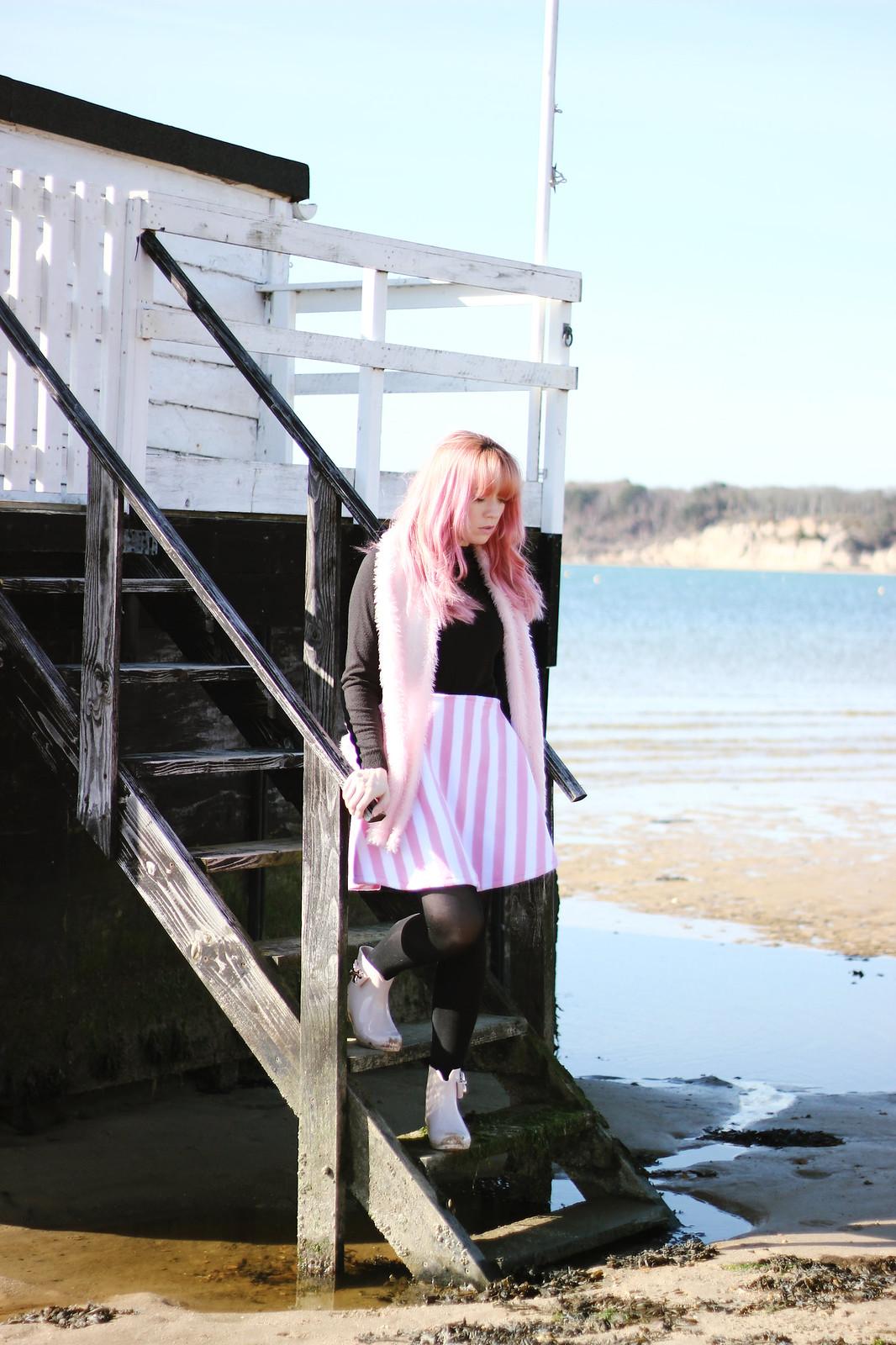 6pink stripe skirt, faux fur backpack