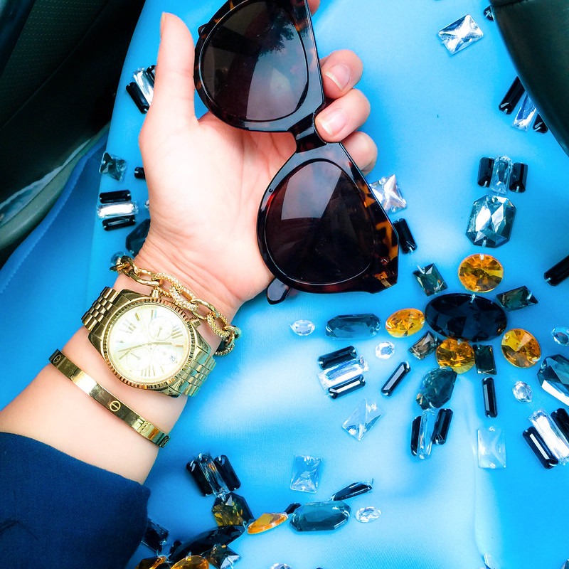 cute & little blog | petite fashion | baby blue beaded embellished jewel midi skirt, arm party, style unscripted screw bangle love bracelet, michael kors watch, pave link bracelet, karen walker number one sunglasses | spring outfit