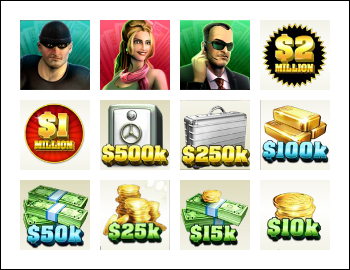 free Spin 2 Million Dollars slot game symbols