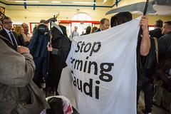 Human rights campaigners protest against Farnborough International arms fair