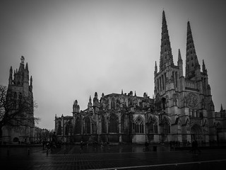 Зображення Cathédrale Saint-André. blackandwhite bw france tree rain architecture tour cathedral noiretblanc bordeaux wideangle nb cathédrale rainy saintandré aquitaine gironde peyberland cathédralesaintandré tourpeyberland