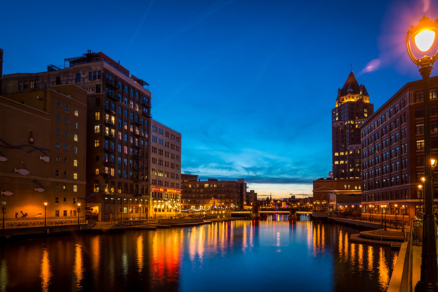 Milwaukee, Twilight, River, River Walk, Evening, Blue, City, Cityscape