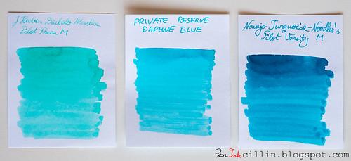Private Reserve Daphne Blue vs J Herbin Diabolo Menthe vs Noodler's Navajo Turquoise