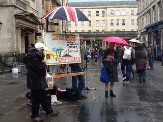 Street preacher outside Bath Abbey