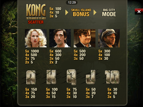 free King Kong Mobile slot payout
