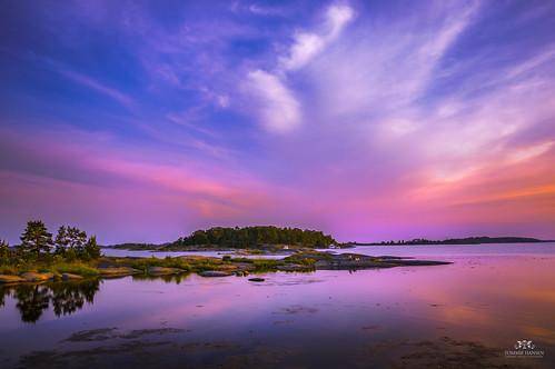 Perfect sunset and sea at Fjärdlång, Stockholm (Sweden)