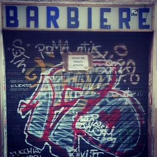 Last barbershop in Trastevere, Rome. Closed for retirement.