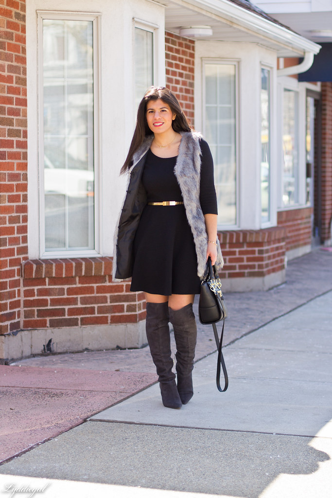 little black dress, grey fur vest, over the knee boots.jpg