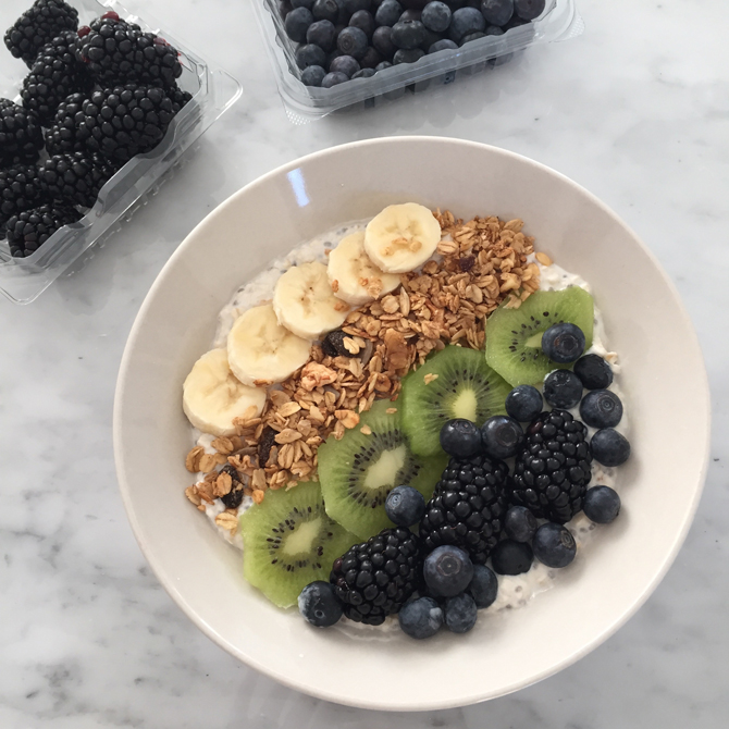 coconut oatmeal fruit breakfast bowl