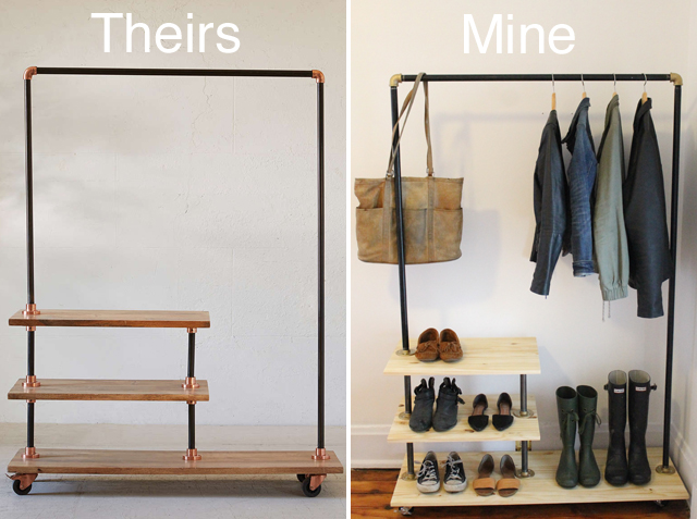 DIY Industrial Shoe and Coat Rack (Inspired by Urban Outfitters)
