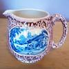 "Vintage Lancaster & Sons Ltd. Drip Glaze Pink Lustre Cream Pitcher w/ Blue Transfer Design ""The British Flag"" Pub"