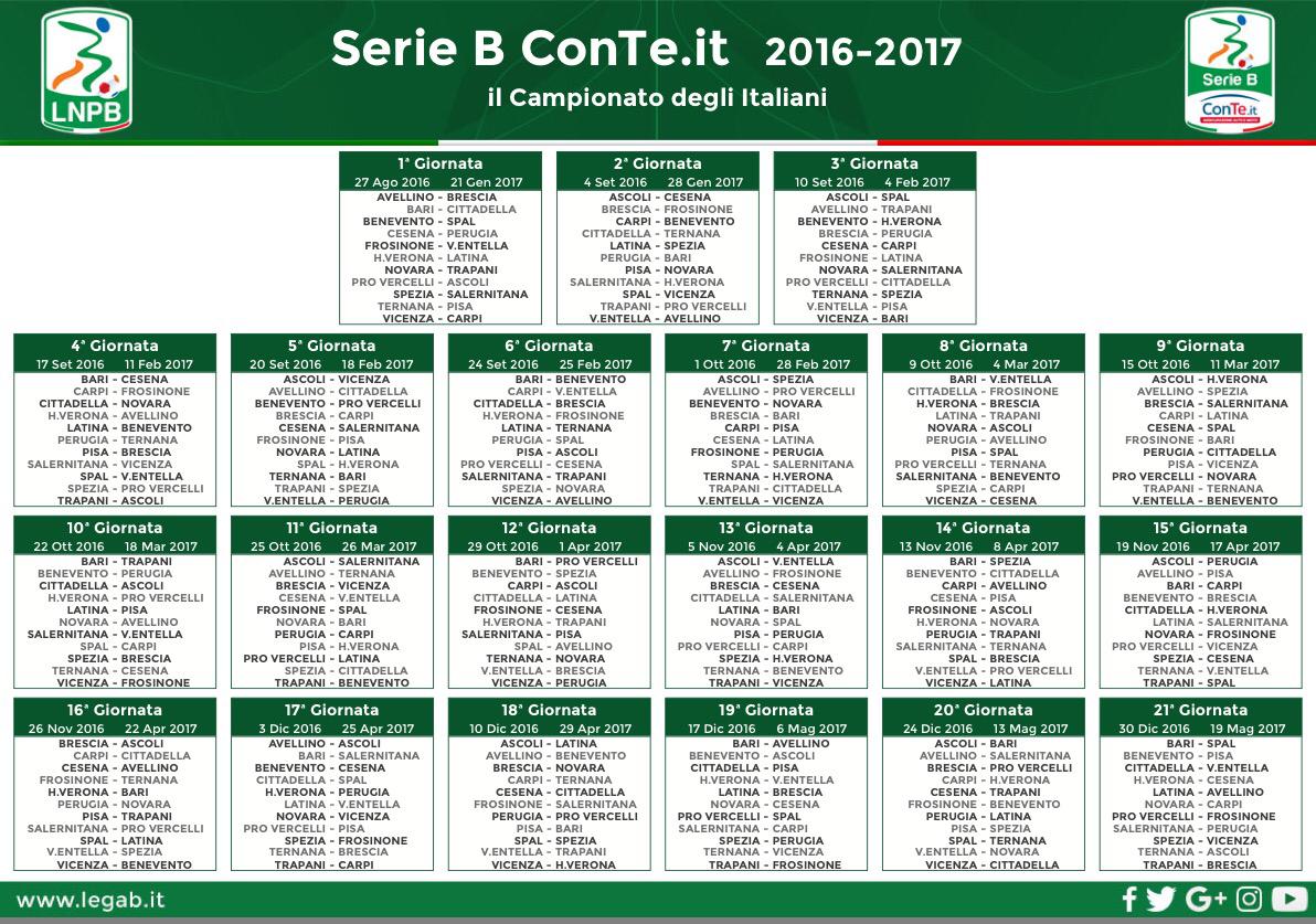 Calendario Di Serie B.Il Calendario Completo Della Serie B 2016 17 Hellas Live