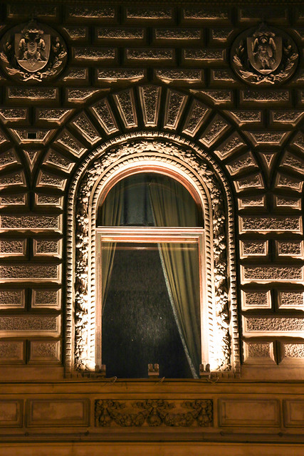 An arched window in Old city, Saint Petersburg, Russia サンクトペテルブルク、ライトアップされた旧市街のアーチ窓