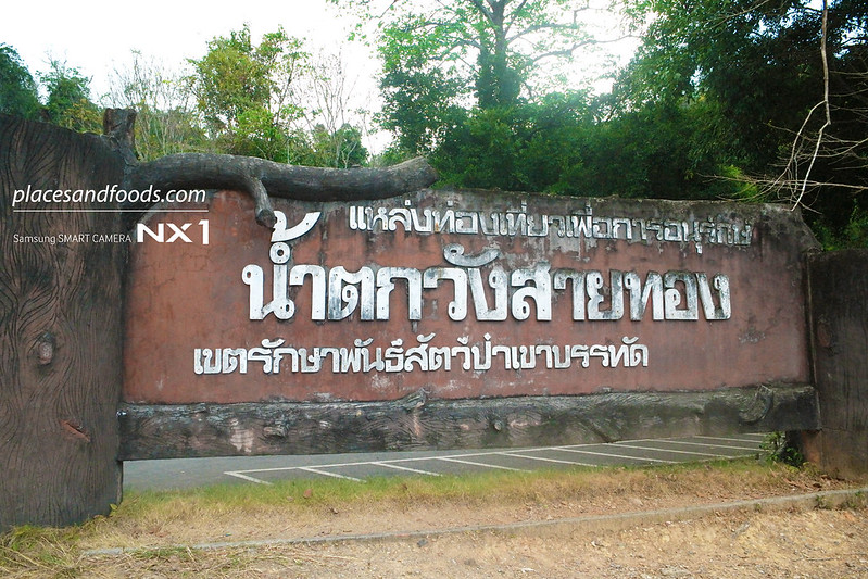 namtok wang sai thong waterfall road sign