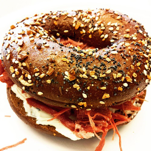 Corned beef and cream cheese bagel sandwich #Yum