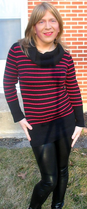 Outside in red-and-black sweater and leggings